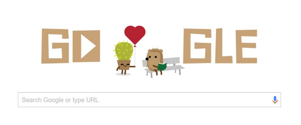 Egel in Google Doodle voor Valentijnsdag!