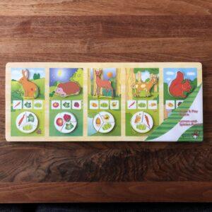 Houten puzzel learn & play bosdieren